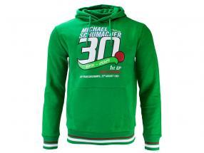 Michael Schumacher Pullover med hætte Først formel 1 GP Spa 1991 grøn