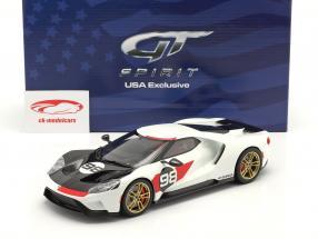 Ford GT Heritage Edition Année de construction 2021 #98 blanche / carbone / rouge 1:18 GT-SPIRIT