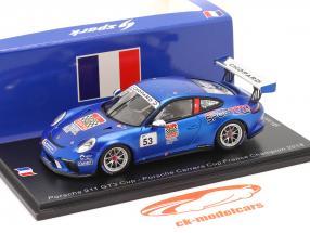 Porsche 911 GT3 Cup #53 campeón Porsche Carrera Cup Francia 2018 1:43 Spark