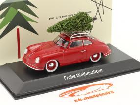 Porsche 356 rosso insieme a albero di Natale 1:43 Spark