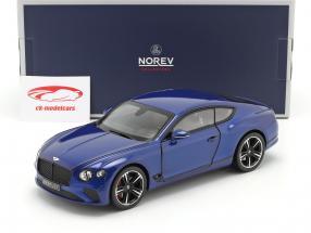 Bentley Continental GT bouwjaar 2018 sequin blauw 1:18 Norev