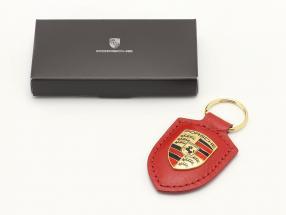 Læder nøglering Porsche våbenskjold Rød