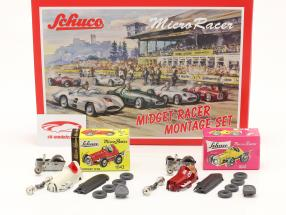 2-Car Micro Racer Conjunto de montagem Midget #8 & #3 1:45 Schuco