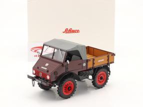 Mercedes-Benz Unimog 401 insieme a Copertura soffice Anno di costruzione 1953-56 rosso 1:18 Schuco