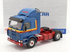Scania 143 Topline Camión 1987 azul / amarillo / rojo 1:18 Model Car Group