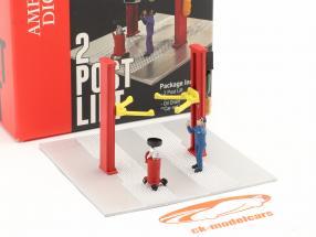 Zwei-Säulen Hebebühne Ölwechsel rot 1:64 American Diorama