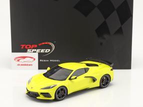 Chevrolet Corvette C8 Stingray Byggeår 2020 accelerate gul metallisk 1:18 TrueScale