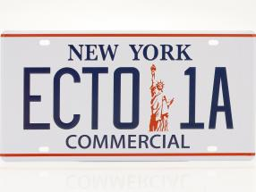 Plaque d'immatriculation 30 x 15 cm ECTO-1A Cadillac 1959 Film Ghostbusters (1984) blanche