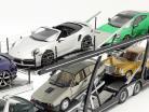 Set Scania V8 730S black with Lohr car transporter black / silver 1:18 NZG