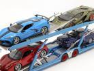 ensemble Mercedes-Benz Actros avec Lohr Transporteur de voitures Mosolf Bleu clair 1:18 NZG