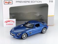 Mercedes-Benz SLS AMG Year 2009 blue 1:18 Maisto