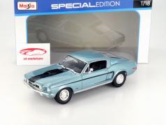 Ford Mustang GT Cobra Jet Year 1968 blue metallic / black 1:18 Maisto