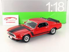 Ford Mustang Boss 302 Ano 1970 vermelho / preto 1:18 Welly