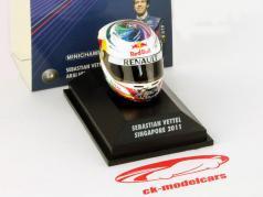 S. Vettel Red Bull GP Singapour Formule 1 Weltmeister 2011 Casque 1:8 Minichamps