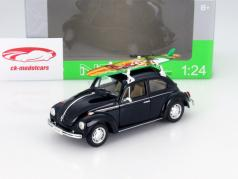 Volkswagen VW Käfer Hard Top med appelsin surfbræt Opførselsår 1959 sort 1:24 Welly