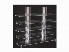 顶视透明挂板配有透明圆柱展示架 SAFE