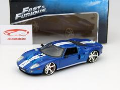 Ford GT da il Film Fast and Furious 7 2015 blu / bianco 1:24 Jada Toys