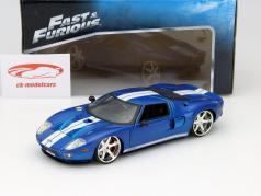 Ford GT fra den Film Fast and Furious 7 2015 blå / hvid 1:24 Jada Toys