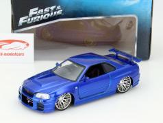 Brian´s Nissan Skyline GT-R (R34) Fast e Furious azul 1:24 Jada Toys