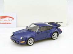 Porsche 911 (964) Turbo jaar 1990 blauw 1:24 Welly