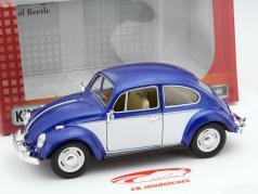 Volkswagen VW Classic Beetle ano 1967 azul / branco 1:24 Kinsmart