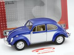 Volkswagen VW Classic Beetle año 1967 azul / blanco 1:24 Kinsmart