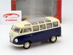 Volkswagen VW Samba Bus jaar 1962 blauw 1:24 Kinsmart