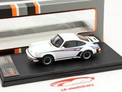 Porsche 911 Turbo Martini Edition jaar 1975 wit 1:43 Premium X