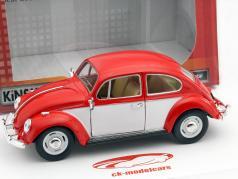 Volkswagen VW Classic Beetle ano 1967 vermelho / branco 1:24 Kinsmart