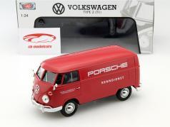 Volkswagen VW Type 2 T1 Porsche racing service rosso 1:24 MotorMax