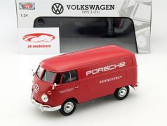 Volkswagen VW Type 2 T1 Porsche serviço de corridas vermelho 1:24 MotorMax