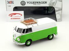 Volkswagen VW Type 2 T1 van verde / branco 1:24 MotorMax
