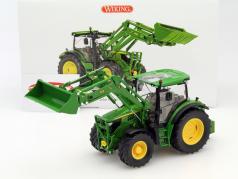 John Deere 6125R tractor con cargadores frontales verde 1:32 Wiking