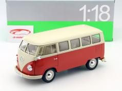 Volkswagen VW T1 Bus Window Van år 1963 rød / creme 1:18 Welly