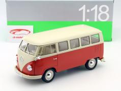 Volkswagen VW T1 Bus Window Van year 1963 red / cream 1:18 Welly