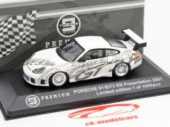 Porsche 911 GT3 RS Presentation Car 2001 weiß / silber 1:43 Triple 9