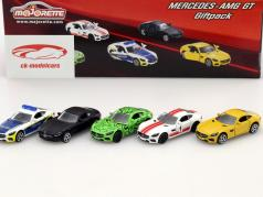 5-Car Set Mercedes-Benz AMG GT black / green / yellow / white / red / blue 1:64 Majorette