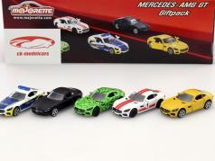 5-Car Set Mercedes-Benz AMG GT negro / verde / amarillo / blanco / rojo / azul 1:64 Majorette