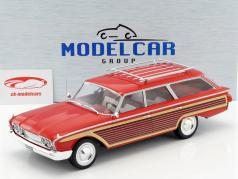 Ford Country Squire med træ-look rød 1:18 Model Car Group