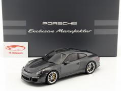 Porsche 911 R (991) cinza metálico com mostruário 1:18 Spark
