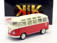 Volkswagen VW Bulli T1 Samba år 1962 rød / creme 1:18 KK-Scale