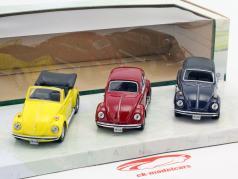 3-Car Set Volkswagen VW Beetle B130 yellow / red / dark blue 1:43 Cararama
