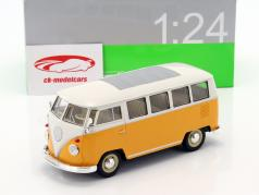 Volkswagen VW T1 bus år 1963 gul / hvid 1:24 Welly