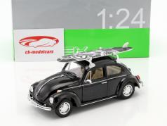 Volkswagen VW Beetle Hard Top med surfbræt sort 1:24 Welly