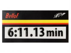 Stefan Bellof 3D etiqueta engomada regazo registro 6:11.13 min negro 120 x 25 mm