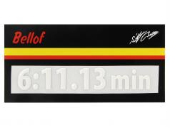 Stefan Bellof 3D etiqueta engomada regazo registro 6:11.13 min blanco 120 x 25 mm
