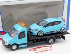 Renault Clio 同 平板运输车 淡蓝色 1:43 Bburago