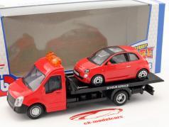 Fiat 500 年 2007 同 平板运输车 红 1:43 Bburago