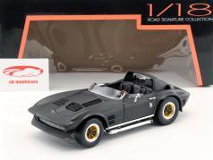 Chevrolet Korvet groots Sport Roadster jaar 1964 mat zwart 1:18 Lucky Schaalmodellen