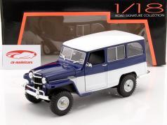 Willys Jeep Station Wagon année de construction 1955 bleu / blanc 1:18 heureux DieCast